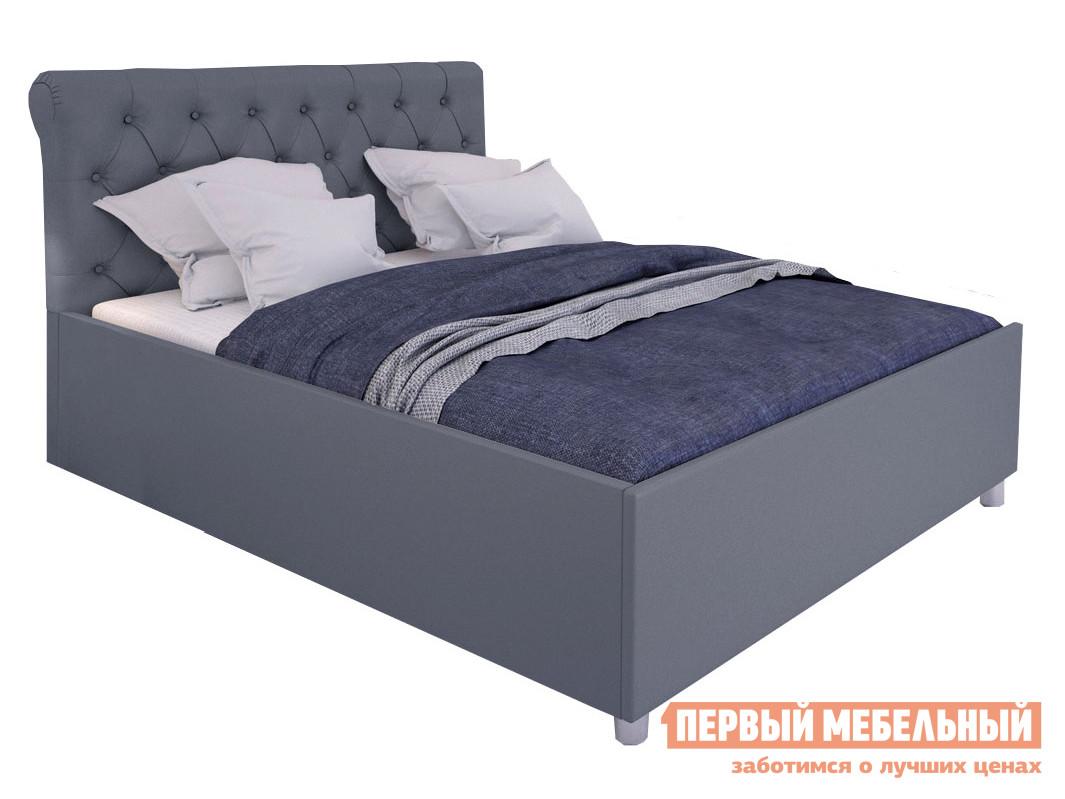 Двуспальная кровать  Кровать с подъемным механизмом Офелия Серый, экокожа, 1600 Х 2000 мм