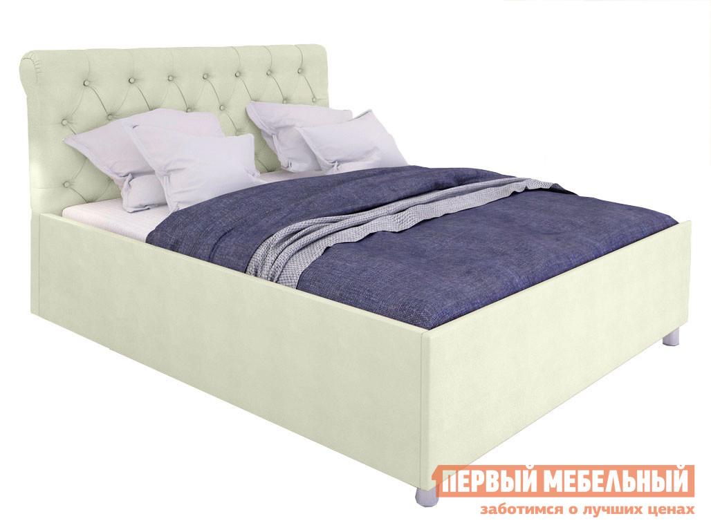 Двуспальная кровать  Кровать с подъемным механизмом Офелия Слоновая кость, экокожа, 1600 Х 2000 мм
