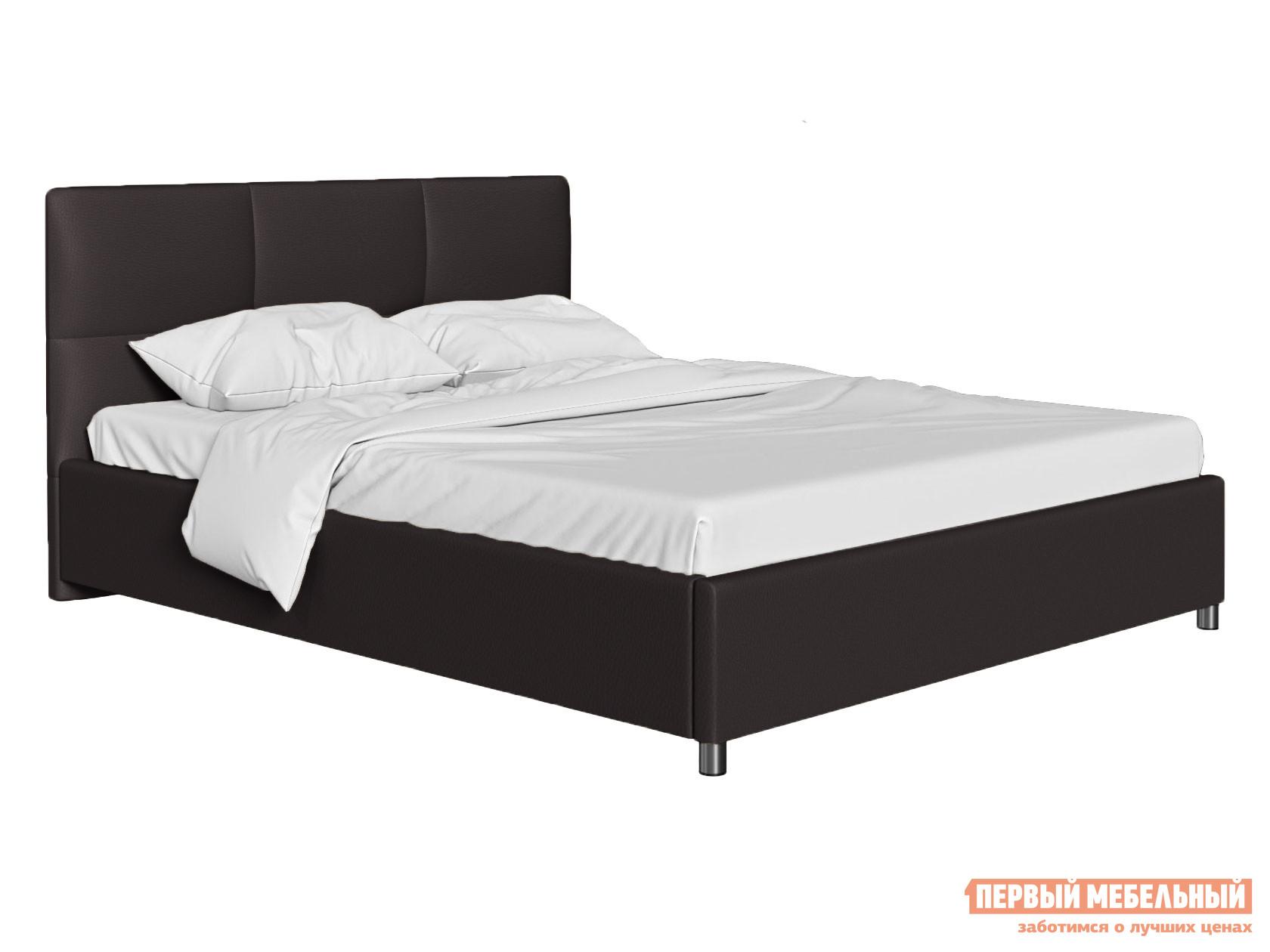 Двуспальная кровать  Кровать с мягким изголовьем Агата Коричневый, экокожа , 180х200 см