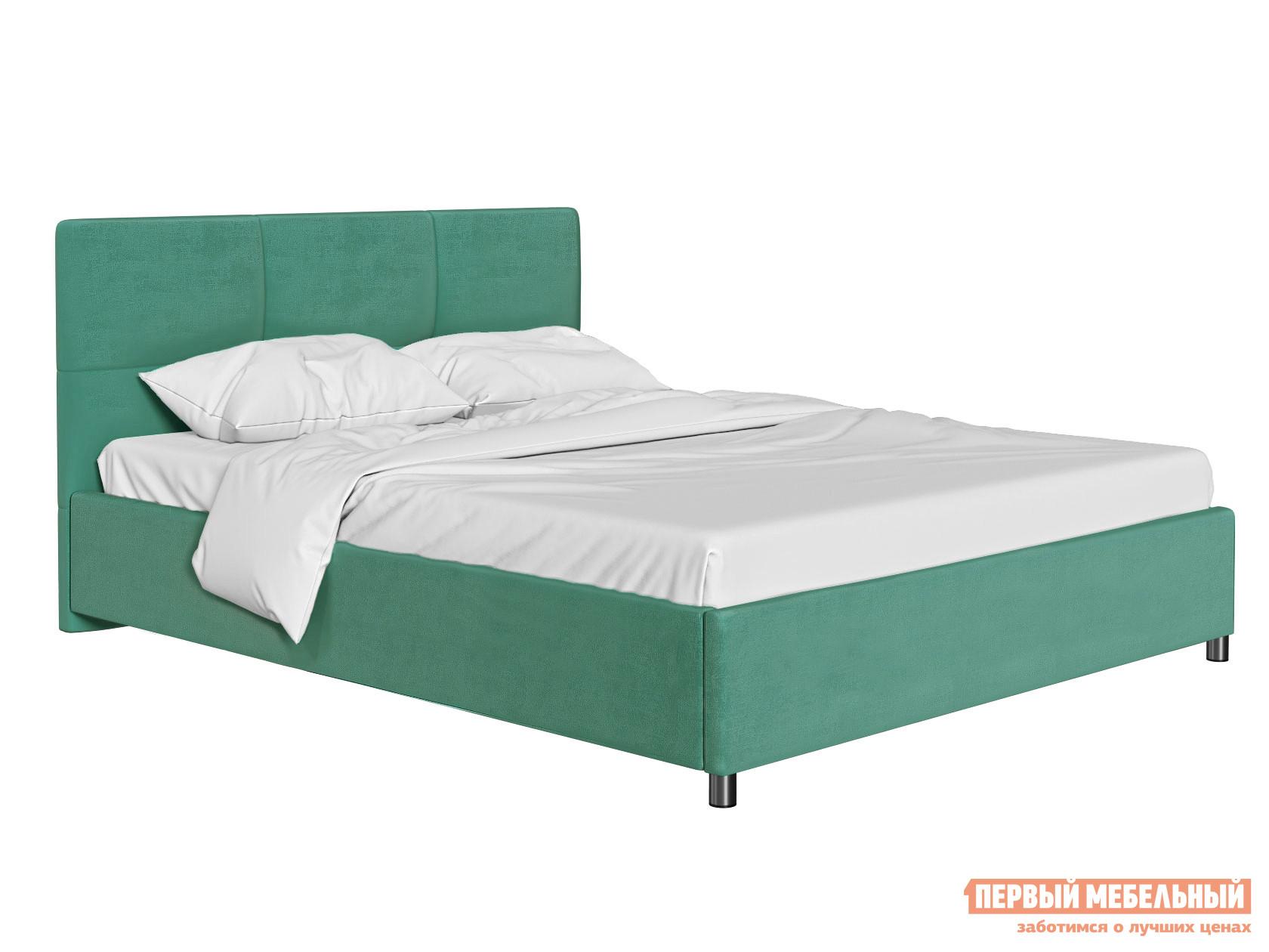 Двуспальная кровать Кровать с мягким изголовьем Агата Мятный, велюр, 140х200 см фото