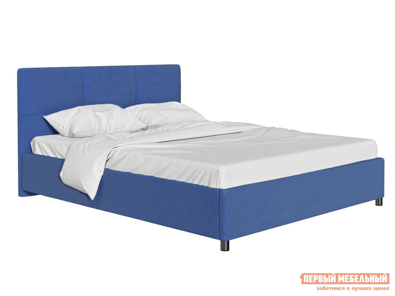 Двуспальная кровать  Кровать с мягким изголовьем Агата Синий, велюр, 180х200 см