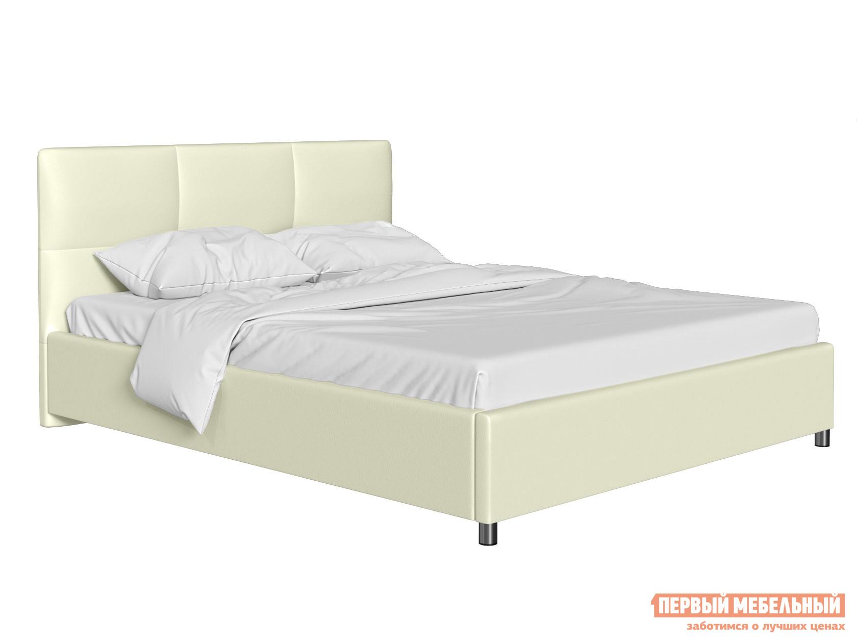 Двуспальная кровать  Кровать с мягким изголовьем Агата Слоновая кость, экокожа, 180х200 см