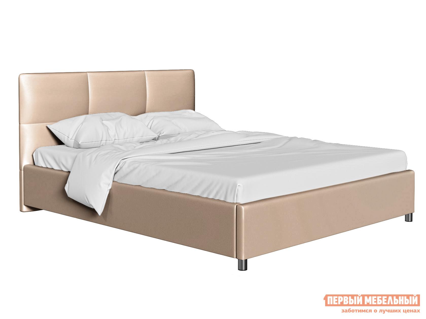 Двуспальная кровать Кровать с мягким изголовьем Агата Латте, экокожа, 140х200 см фото