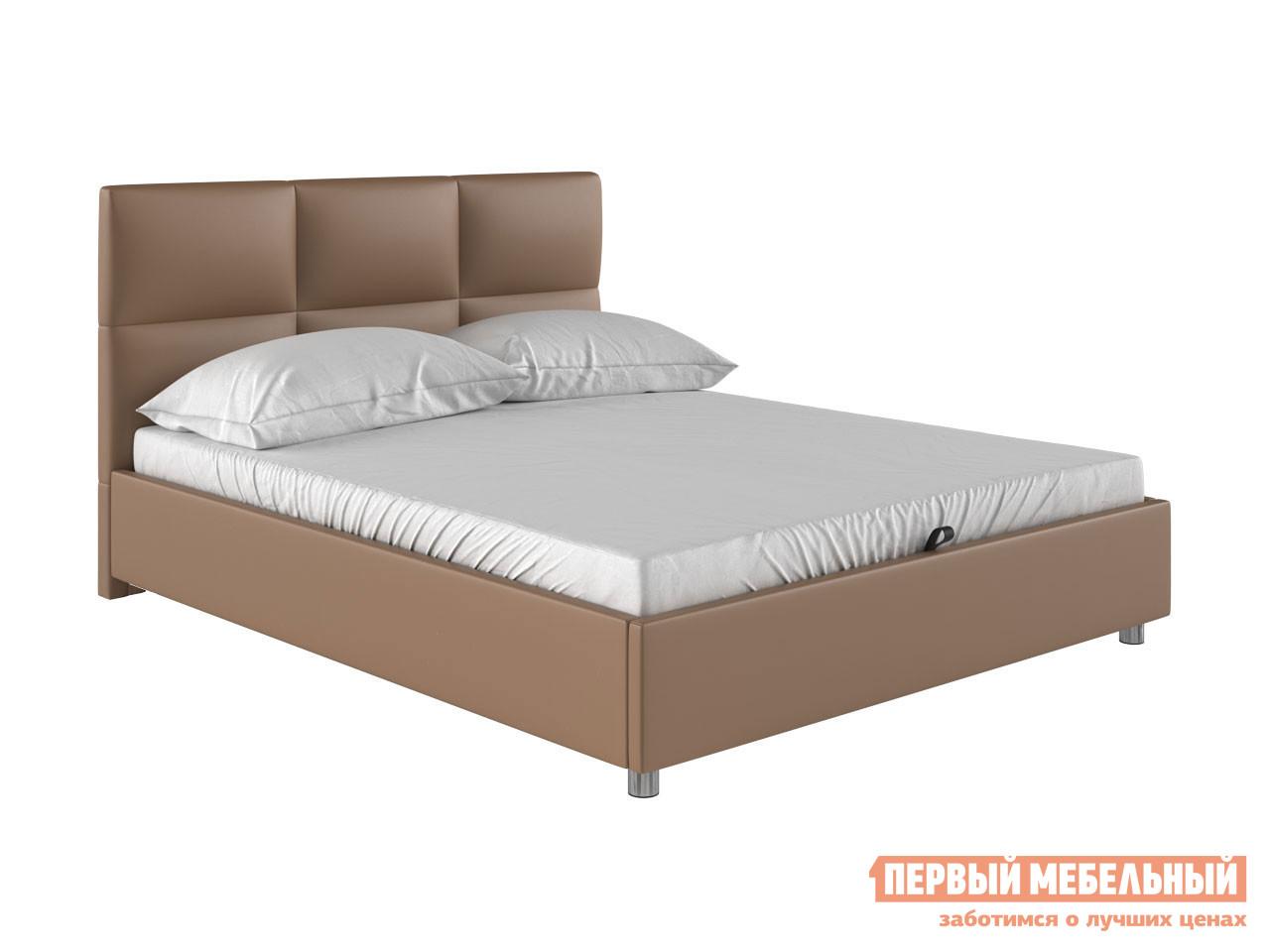 Двуспальная кровать  Кровать с мягким изголовьем Агата Латте, экокожа, 160х200 см — Кровать с мягким изголовьем Агата Латте, экокожа, 160х200 см
