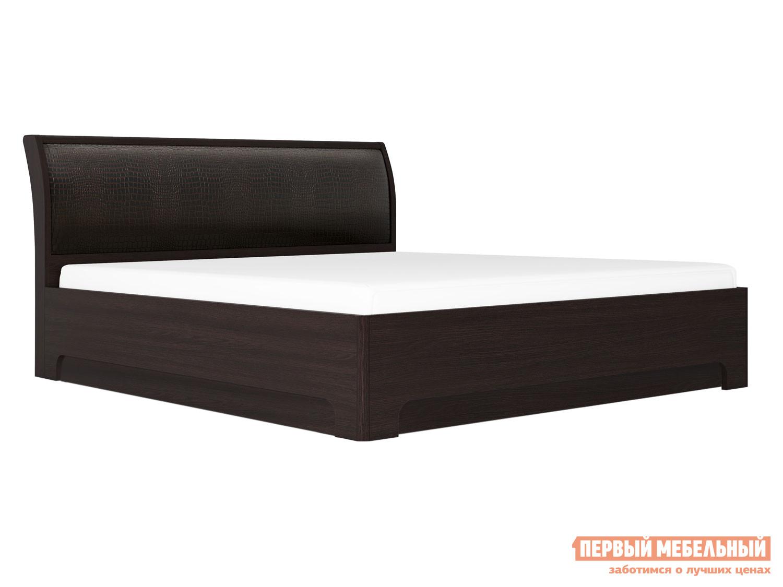 Двуспальная кровать  Парма 3 / с подъемным механизмом Венге Искусственная кожа caiman, 160х200 см, КУРАЖ 66460