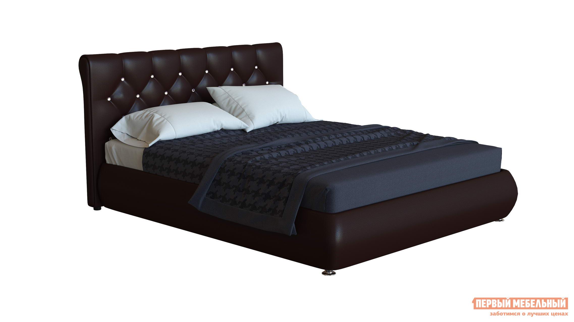 Двуспальная кровать со стразами Первый Мебельный Кровать Джейн декор стразы 140х200, 160х200, 180х200 кровать амели 180х200