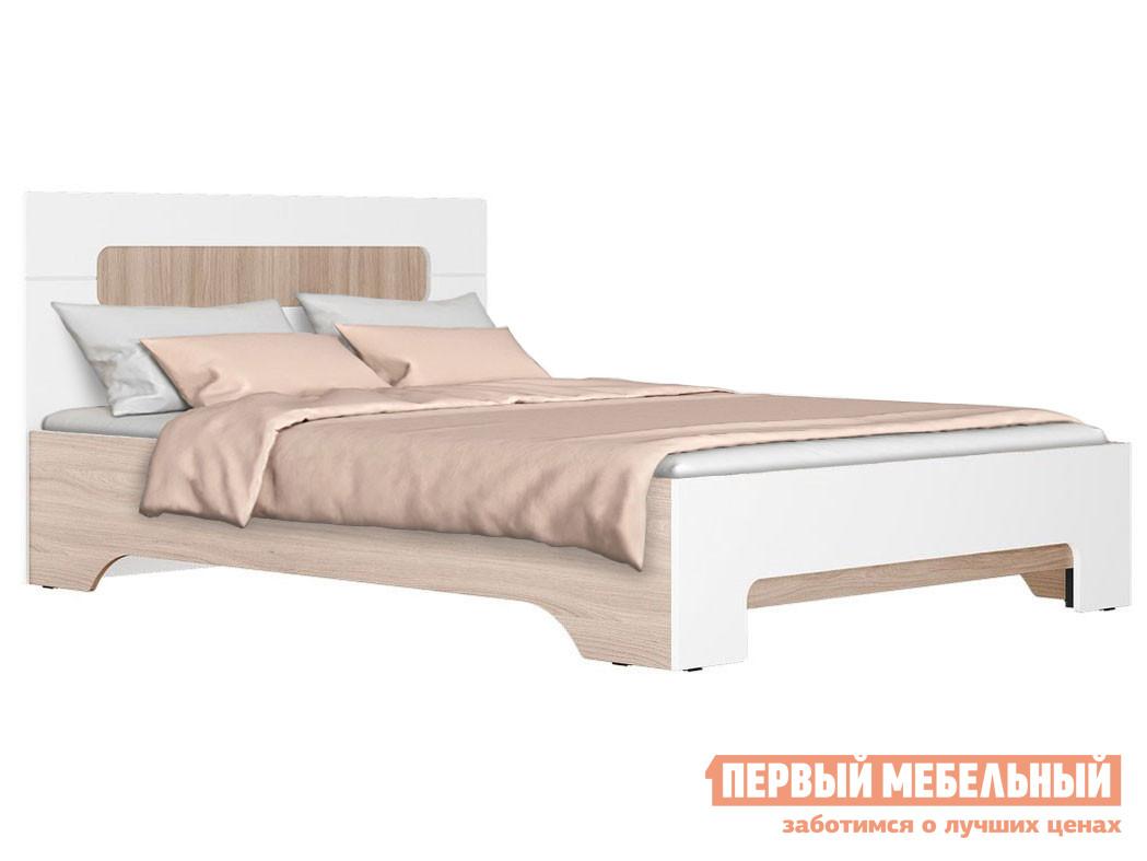 Двуспальная кровать  Кровать Палермо 3 Ясень Шимо Светлый / Белый глянец, 140х200 см, Без основания