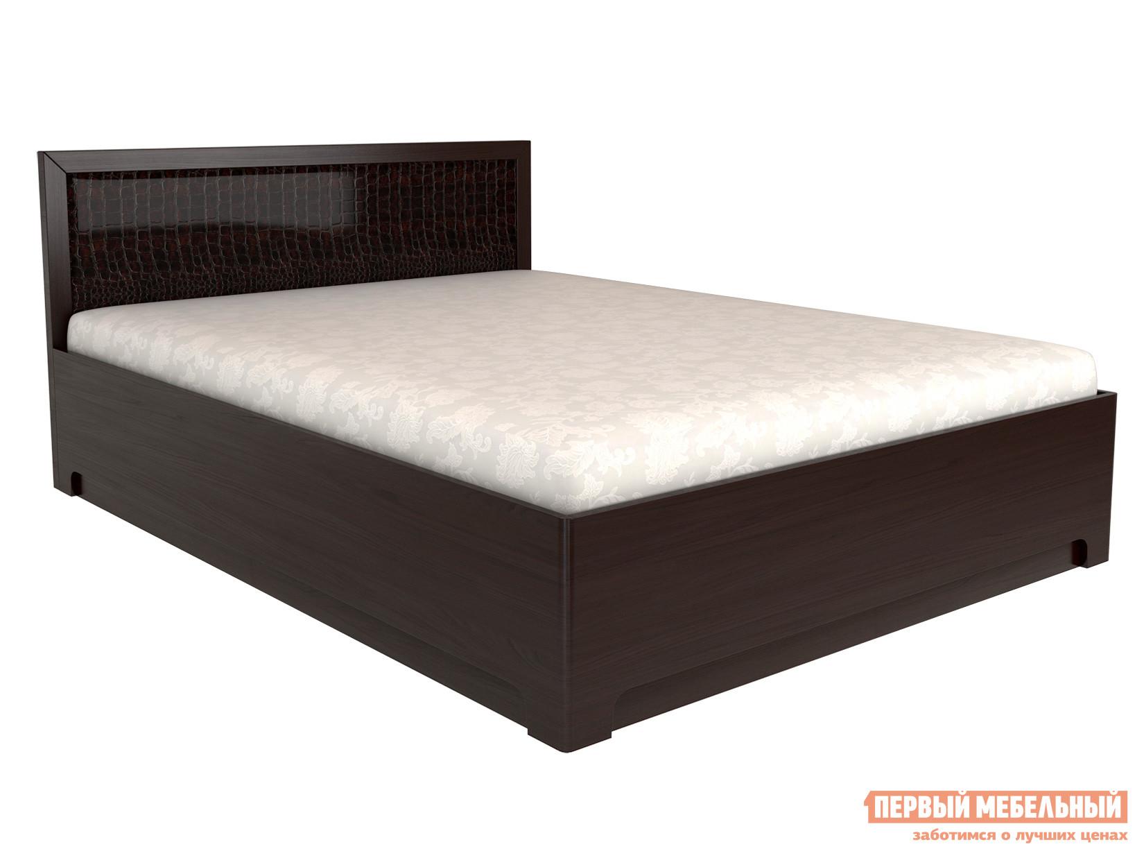 Двуспальная кровать  Парма 1 ПМ Венге / Кожа caiman, 160х200 см