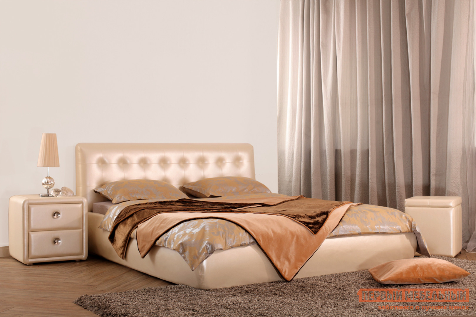 Двуспальная кровать Первый Мебельный Кровать Омега 140х200, 160х200, 180х200 кровать амели 180х200