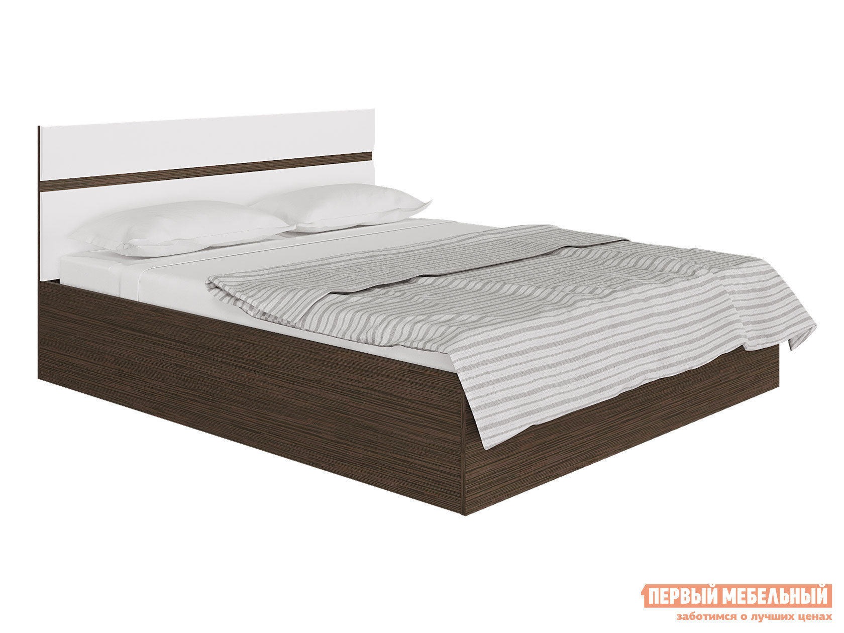 Двуспальная кровать  Ненси Венге / Белый глянец, 1600 Х 2000 мм, С подъемным механизмом Горизонт 74180