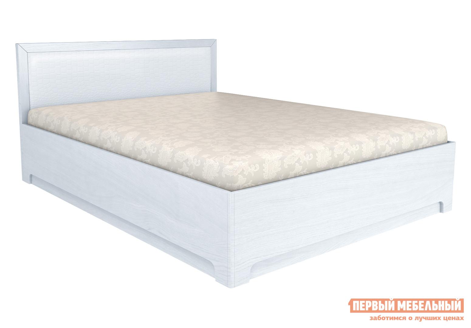 Двуспальная кровать  Капри 1 ПМ Дуб Альбино / Кожа caiman светлый, 160х200