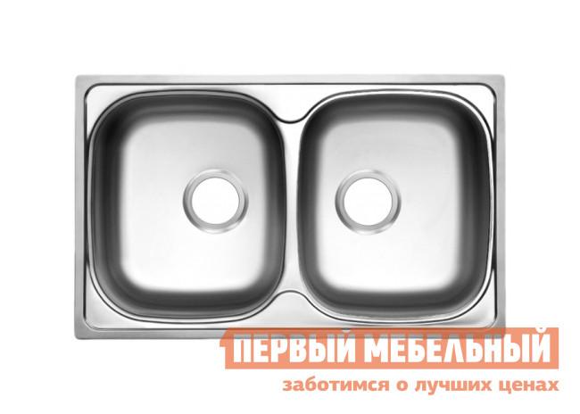 Прямоугольная врезная мойка с двумя чашами Первый Мебельный Мойка Ukinox Classic 780.480 20 матовая