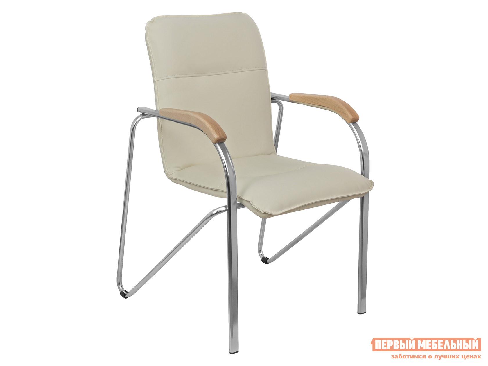 Офисный стул  SAMBA AKS-1 Кремовый, экокожа, Деревянные Базистрейд 137648