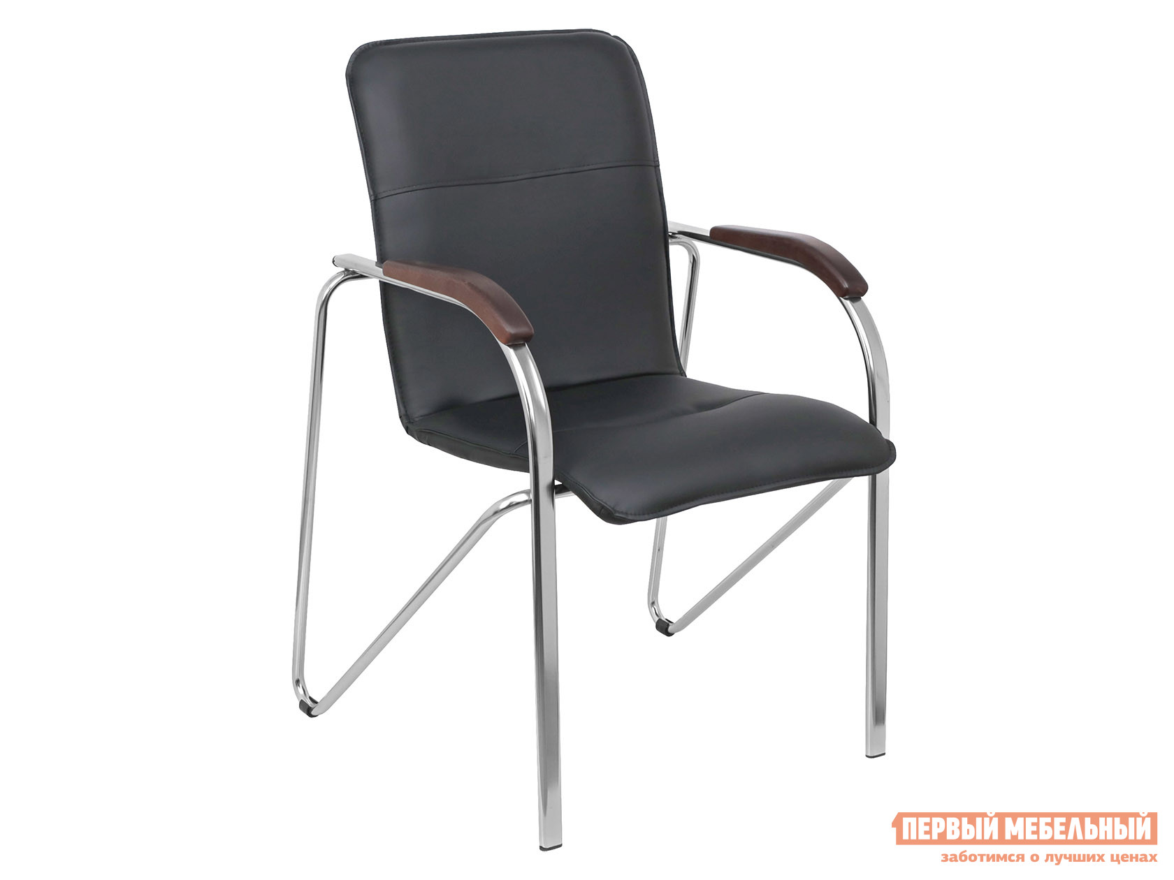 Офисный стул  SAMBA AKS-1 Черный, экокожа, Деревянные Базистрейд 137652