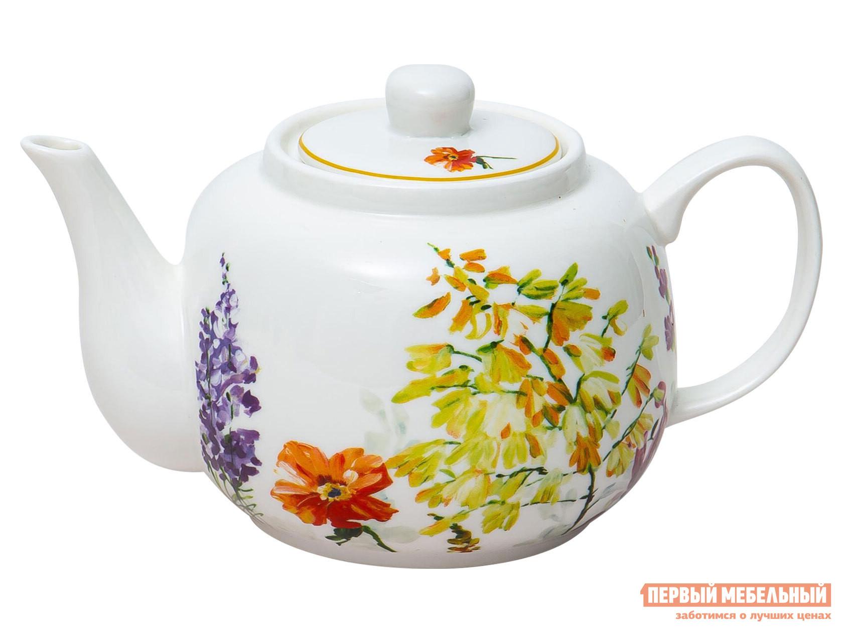 Заварочный чайник  Акварельный букет Белый, фарфор