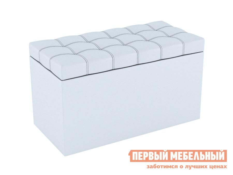 Банкетка  Пуф-сундук Квадро Белый, экокожа