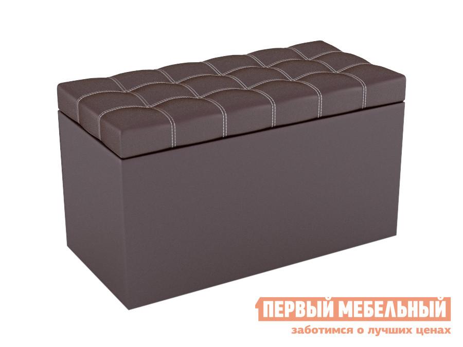 Банкетка  Пуф-сундук Квадро Шоколадный, экокожа