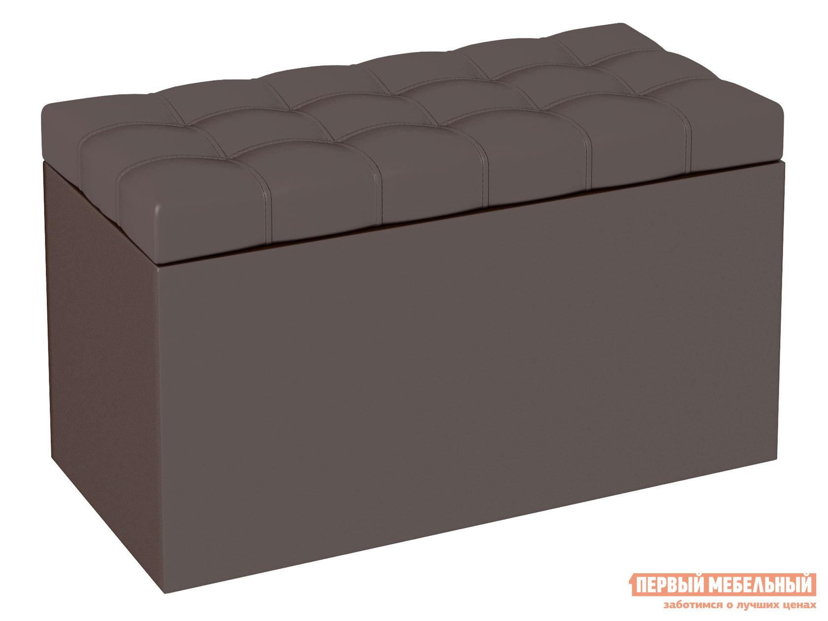 Банкетка  Пуф-сундук Квадро Шоколадный, кожзам БОНмебель 87363