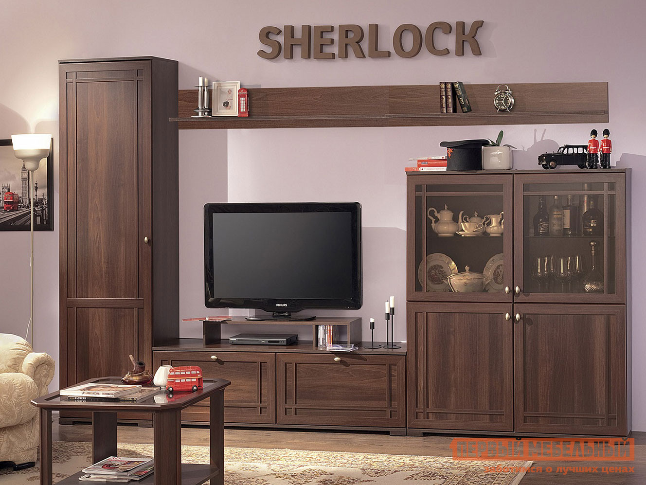 Гостиная Первый Мебельный Sherlock 2 (гостиная) Шкаф МЦН гостиная первый мебельный гостиная диаманд