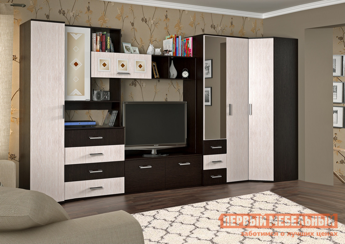 Модульная угловая стенка в гостиную Первый Мебельный Белла 3 модульная стенка ритм 1