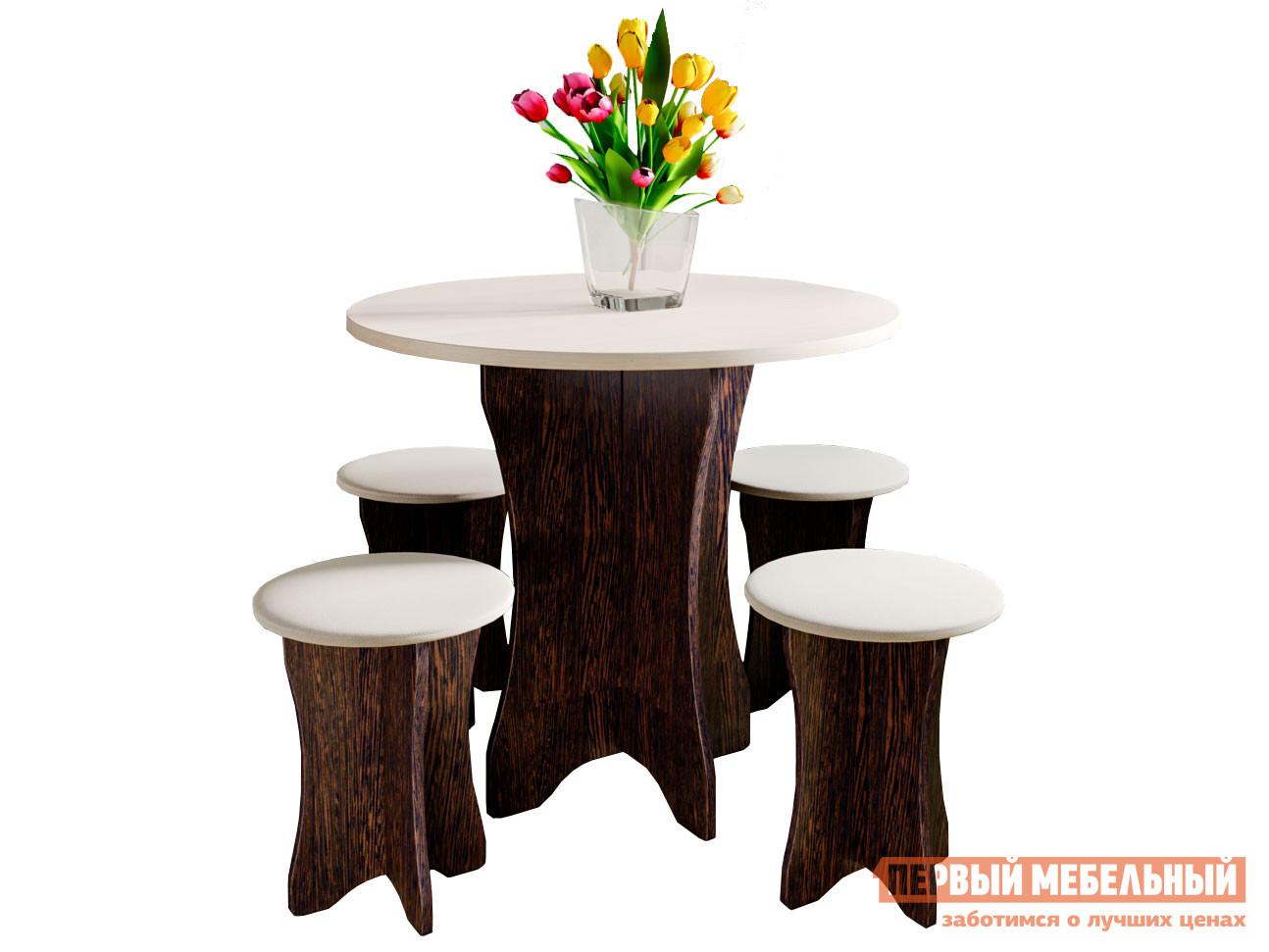Обеденная группа для столовой и гостиной  Обеденная группа Прима Венге, дуб молочный / Бежевый, экокожа