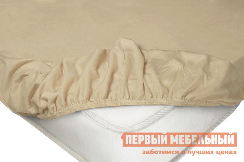 Простыня  Простыня на резинке трикотажная Бежевый, 1800 Х 2000  Х 200 мм