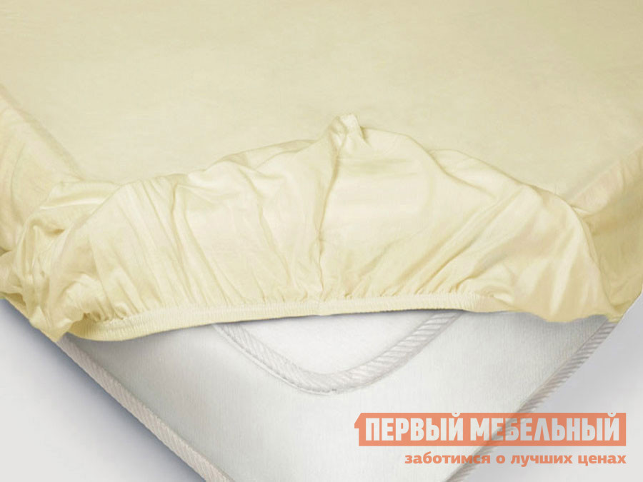 Фото - Простыня Первый Мебельный Простыня на резинке «Поплин» ванильный простыня на резинке 140х200 см поплин браво м507 12 04