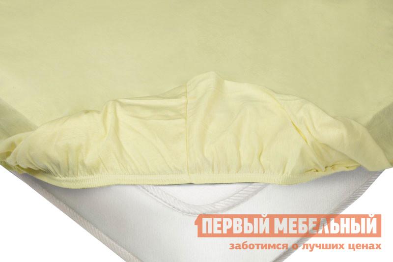 Простыня  Простыня на резинке трикотажная Нежно-жёлтый, 1600 Х 2000 Х 200 мм