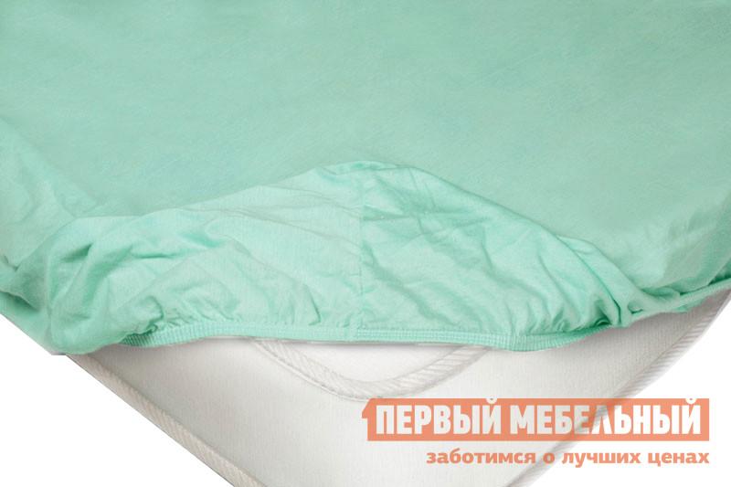 Простыня  Простыня на резинке трикотажная Ментоловый, 1800 Х 2000  Х 200 мм