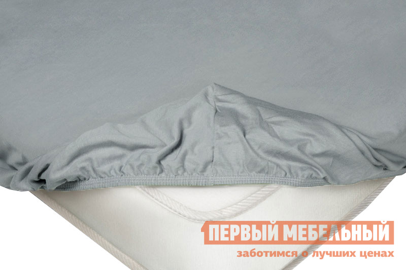 Простыня  на резинке трикотажная Серый, 1400 Х 2000 200 мм Ecotex 93248