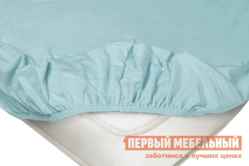 Простыня  Простыня на резинке трикотажная Голубой, 1800 Х 2000  Х 200 мм