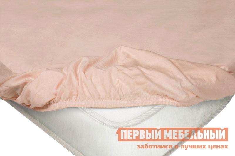 Простыня  на резинке трикотажная Розовый, 1400 Х 2000 200 мм Ecotex 93233