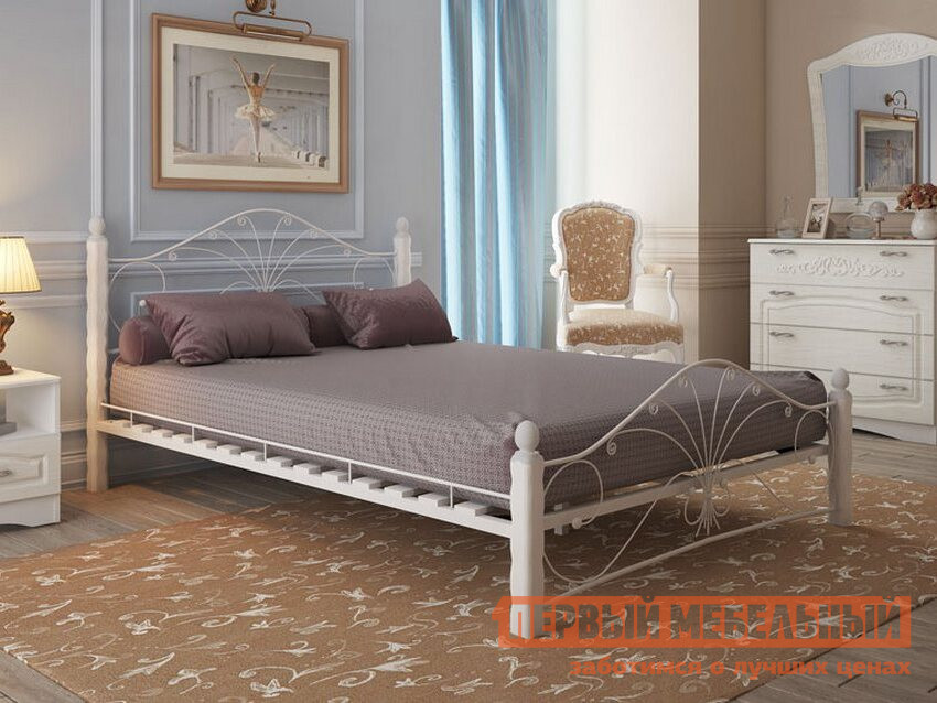 Полутороспальная кровать ПМ: Форвард-мебель Сандра 120х200 / 140х200 Белый, 140х200