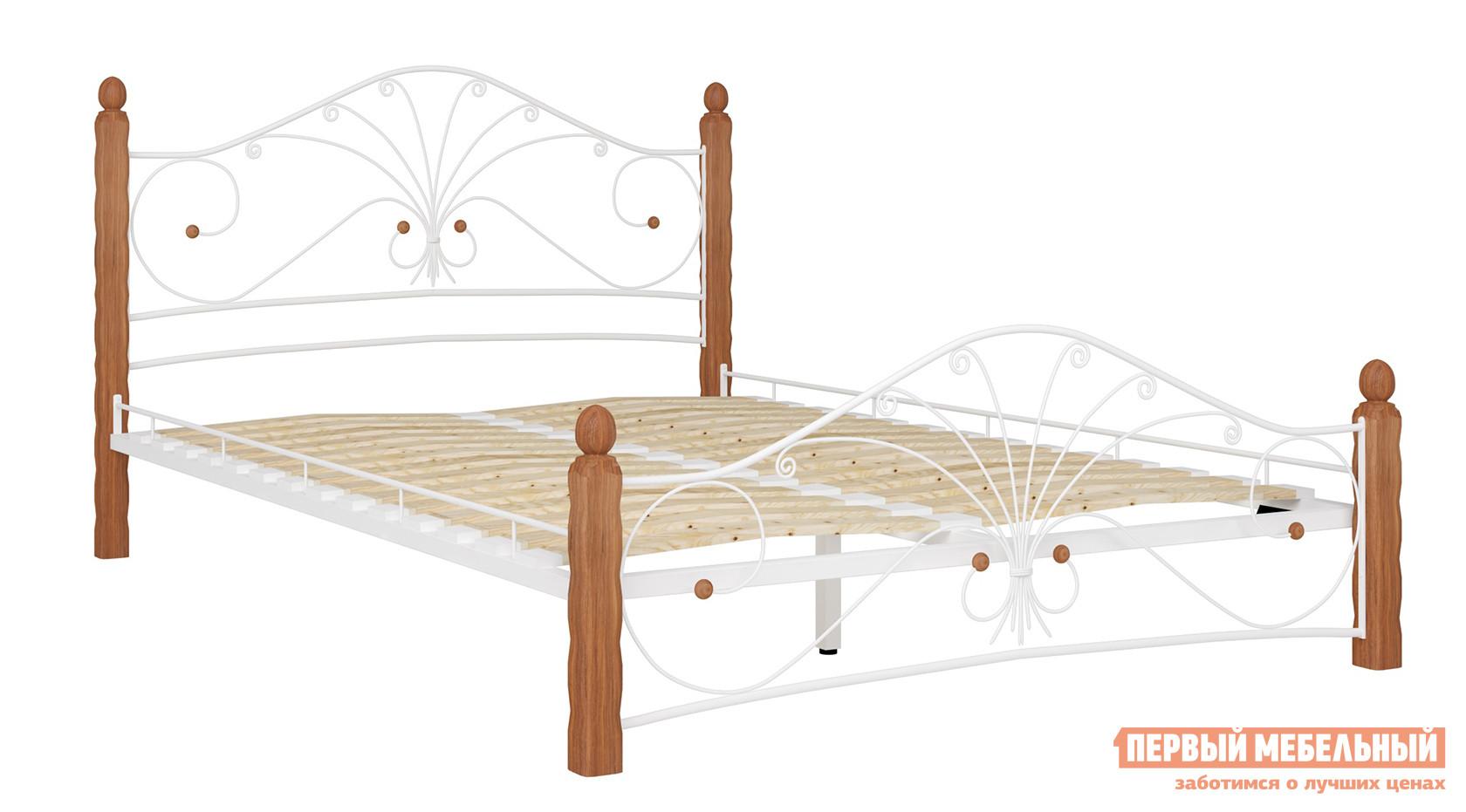 Односпальная кровать  Сандра Белый металл, каркас / Махагон массив, опоры, 120х200 см