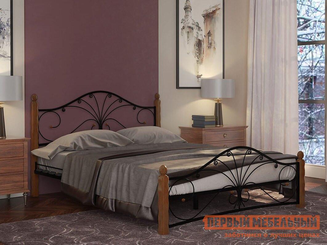 Полутороспальная кровать ПМ: Форвард-мебель Сандра 120х200 / 140х200 Черный/махагон, 140х200