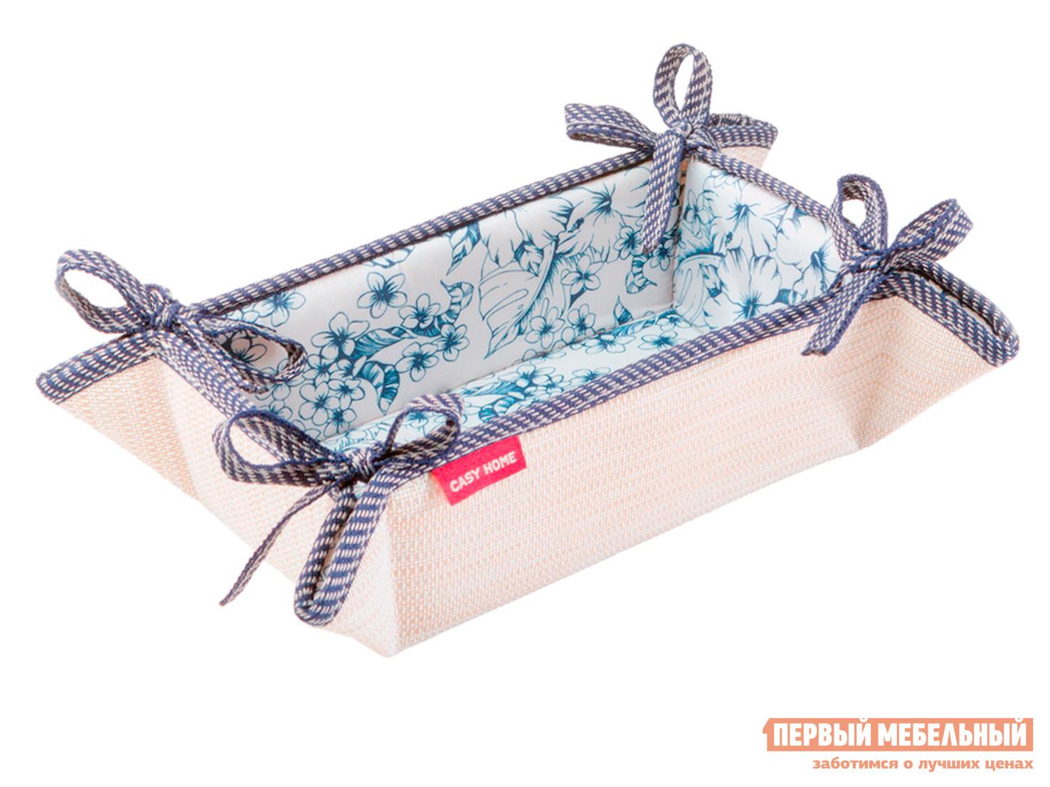 Аксессуары для сервировки и хранения Хлебница 20х13х7см Бежевый, текстилен / Синий, цветы фото