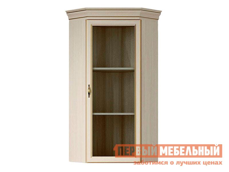 Угловой настенный шкаф Первый Мебельный Надстройка угловая со стеклом Сиена