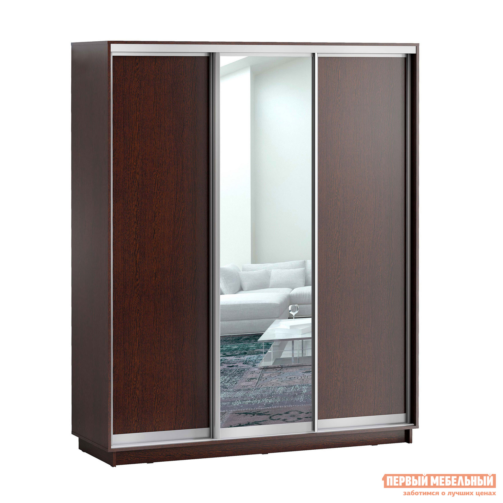 Шкаф-купе Первый Мебельный Шкаф купе Лео 3-х дверный с одним зеркалом
