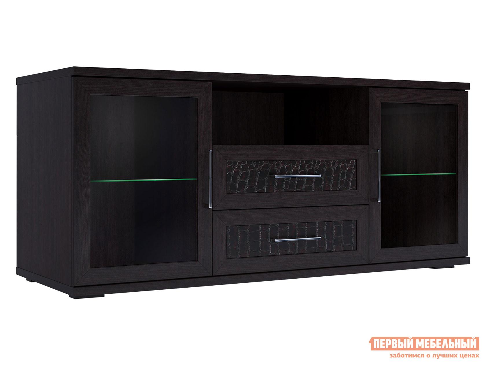 ТВ-тумба Первый Мебельный Тумба для аппаратуры высок. 1500 со стеклом Парма Люкс