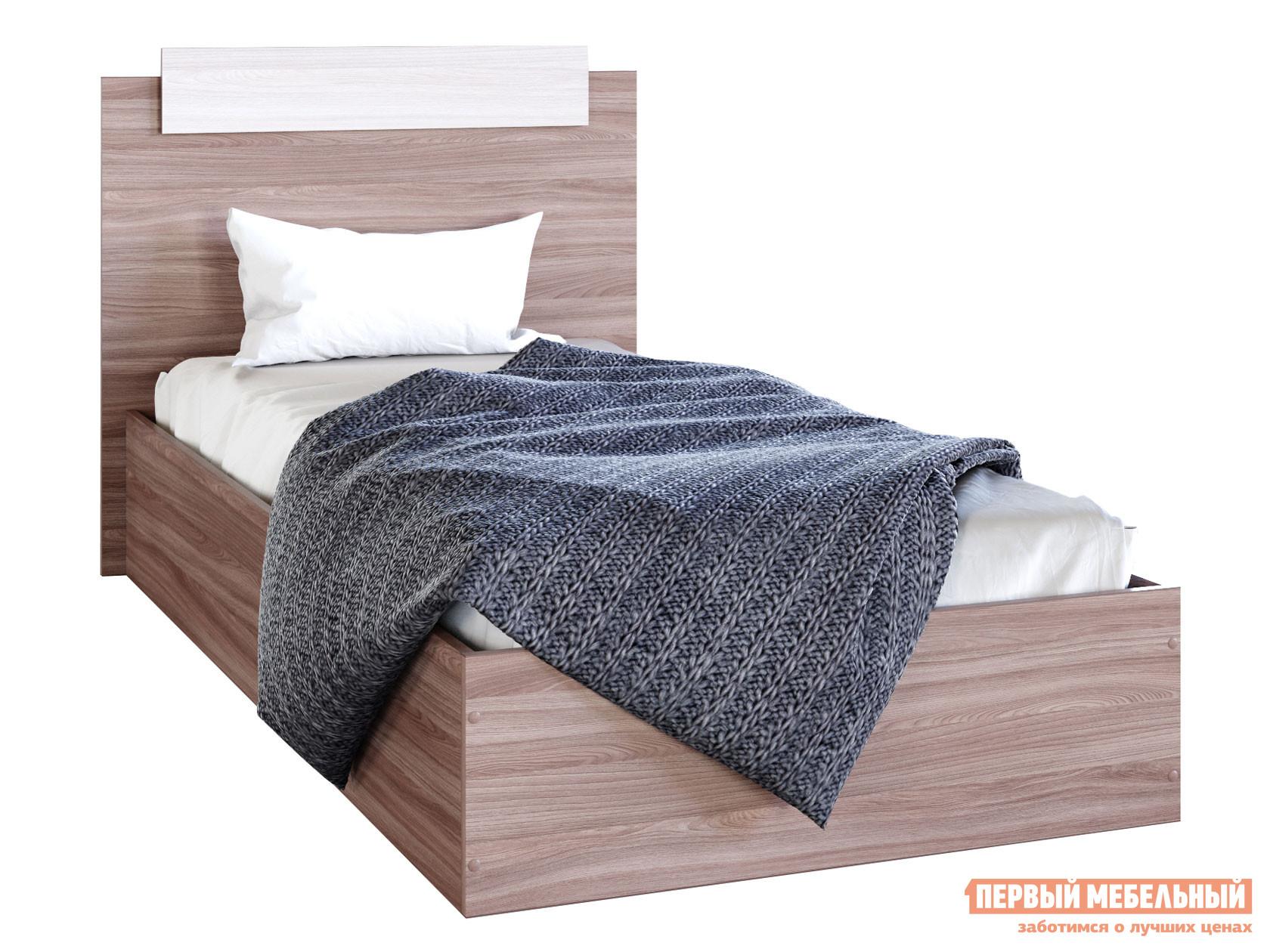 Односпальная кровать  Кровать Эко Ясень шимо светлый / Ясень шимо темный, 900 Х 2000 мм — Кровать Эко Ясень шимо светлый / Ясень шимо темный, 900 Х 2000 мм
