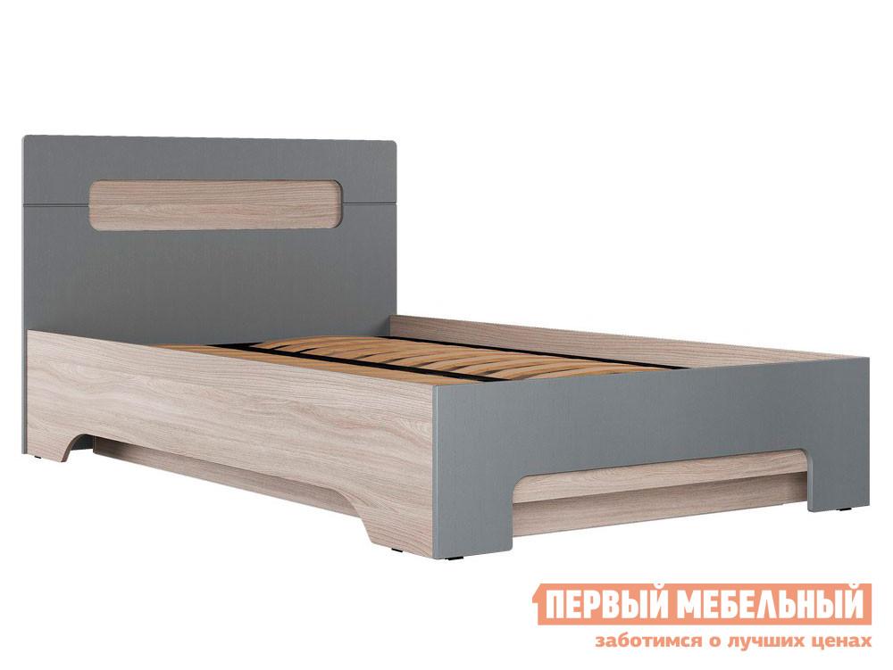 Односпальная кровать  Кровать Палермо 3 Ясень шимо светлый / Матовый графит, Ортопедическое основание с подъемным механизмом