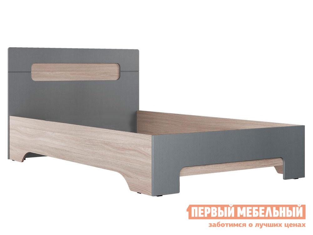 Односпальная кровать  Кровать Палермо 3 Ясень шимо светлый / Матовый графит, Без основания