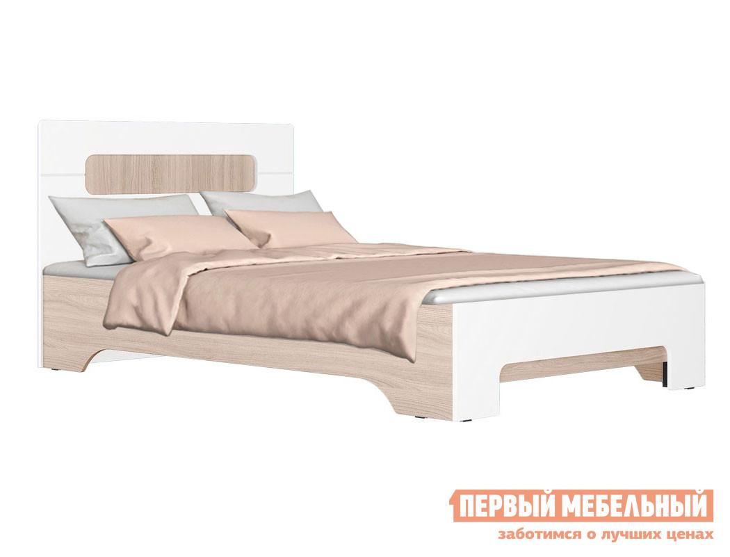 Односпальная кровать  Кровать Палермо 3 Ясень Шимо Светлый / Белый глянец, Без основания