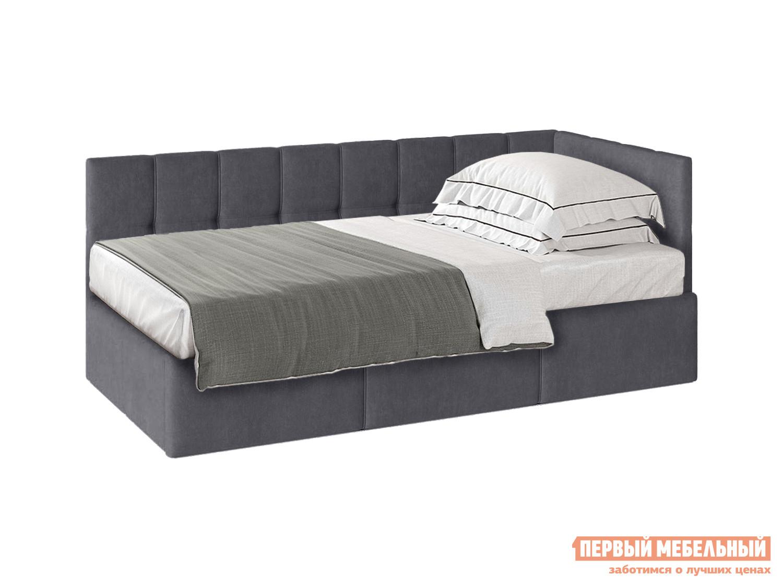 Односпальная кровать  Кровать с подъемным механизмом Оттава 90х200 Серый, велюр