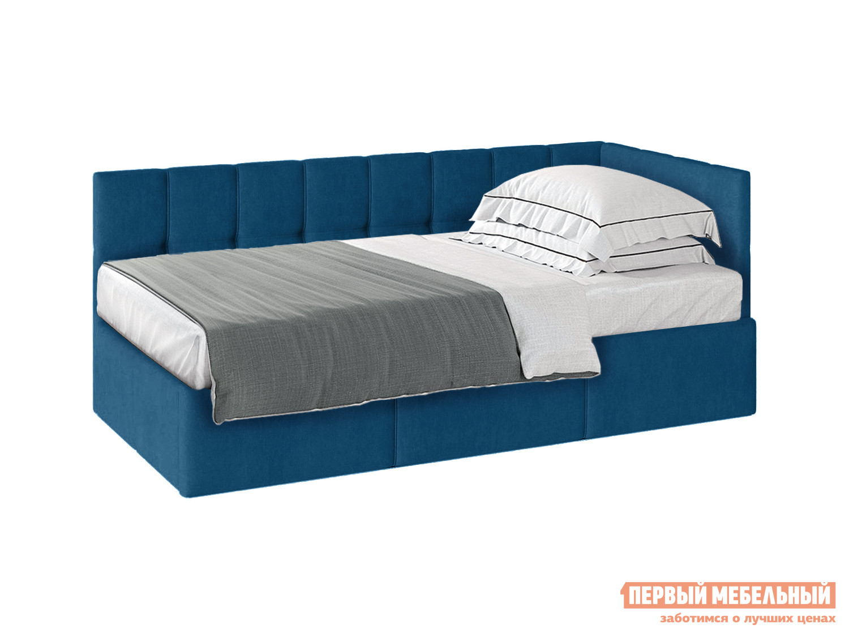 Односпальная кровать  Кровать с подъемным механизмом Оттава 90х200 Синий, велюр