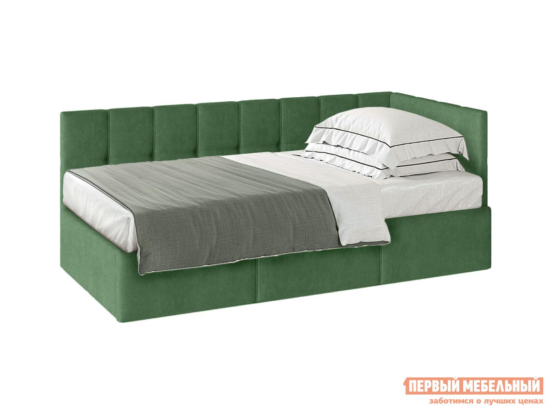 Односпальная кровать  Кровать с подъемным механизмом Оттава 90х200 Зеленый, велюр