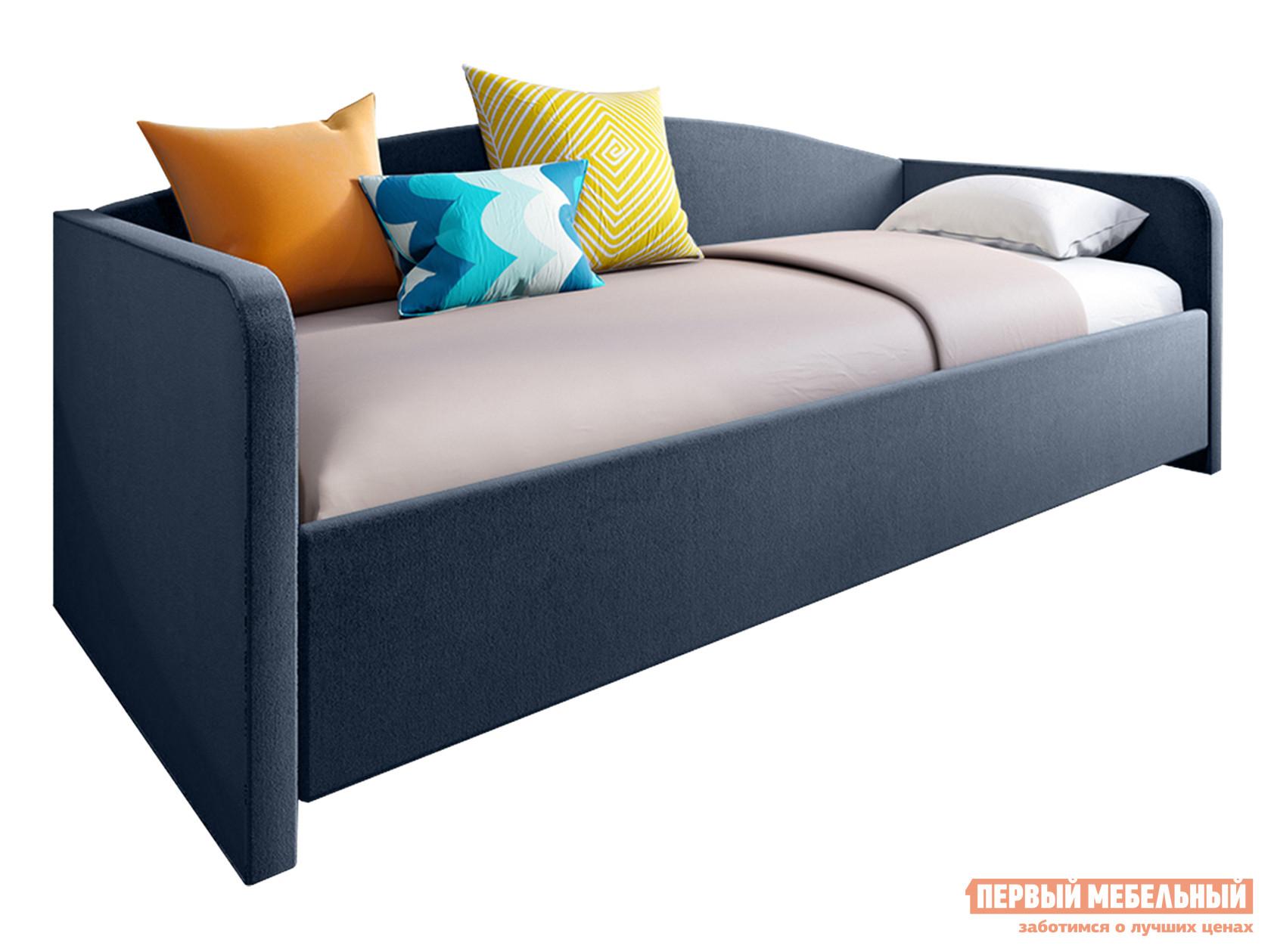Односпальная кровать Тахта Уно с ортопедическим основанием Синий велюр, 900 Х 2000 мм, Без подъемного механизма фото