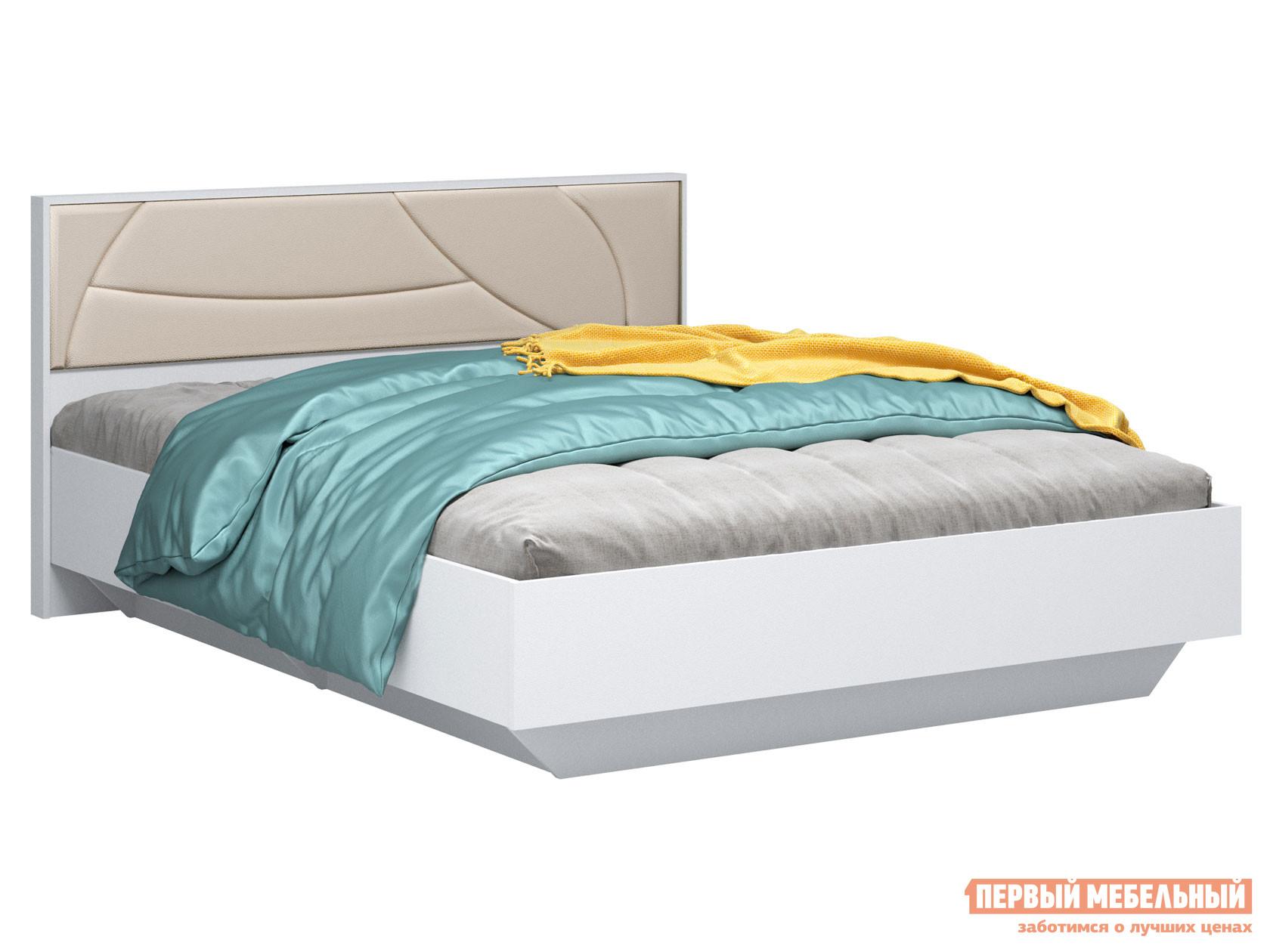 Односпальная кровать  Мирти Люкс Белый шагрень / Ваниль, экокожа, С анатомическим основанием