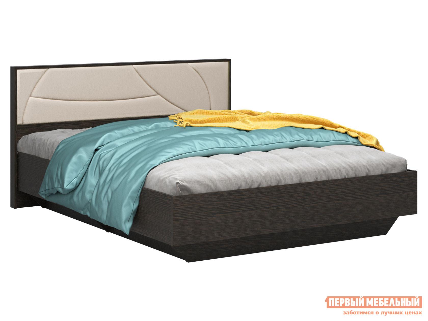 Односпальная кровать  Мирти Люкс Венге / Ваниль, экокожа, С анатомическим основанием