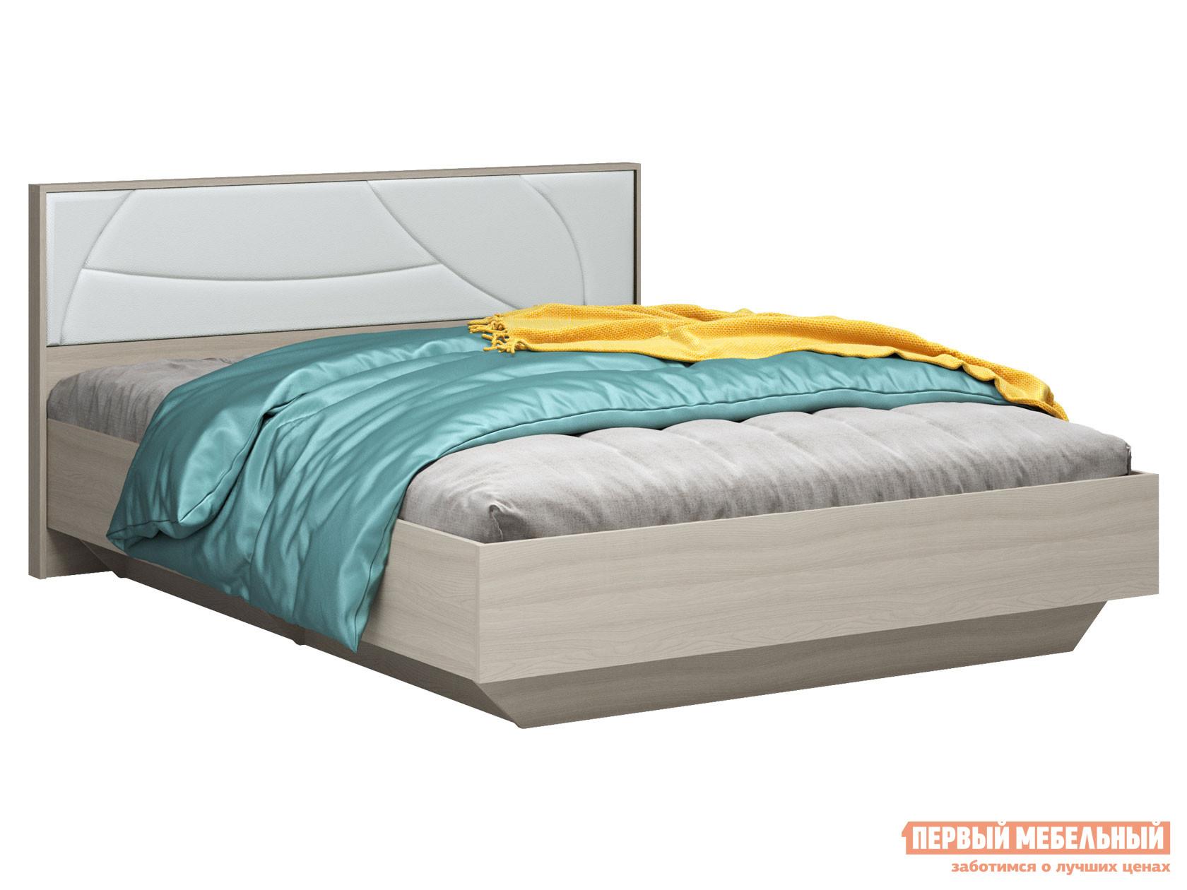 Односпальная кровать  Мирти Люкс Ясень шимо светлый / Белый, экокожа, С анатомическим основанием
